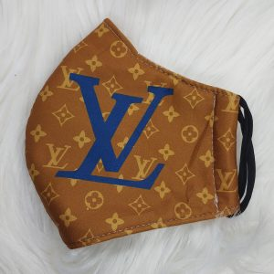 Brown with blue LV Louis Vuitton inspired
