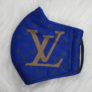 Blue with gold LV Louis Vuitton inspired