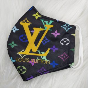 Black and rainbow with gold LV Louis Vuitton inspired