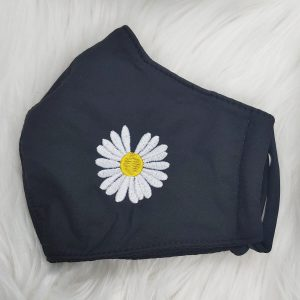Black corduroy daisy flower